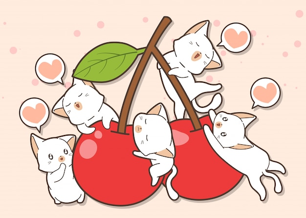 Adorable cat characters and cherry