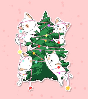 Adorable cat characters with a christmas tree