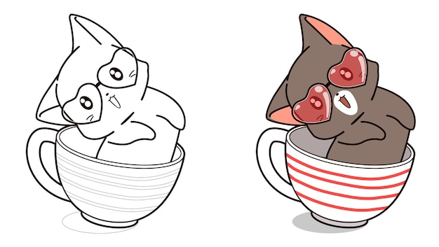 Adorable cat in the cup cartoon coloring page