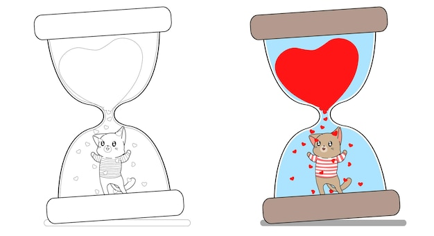Adorable cat in the hourglass cartoon coloring page for kids