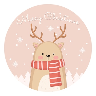 Adorable cat illustration for christmas greeting card