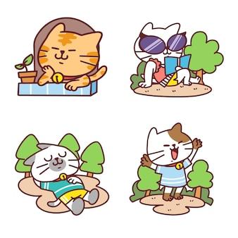 Очаровательная кошка в различных рисунках каракули образа жизни Premium векторы