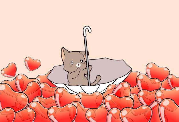 Adorable cat inside umbrella on sea of heart