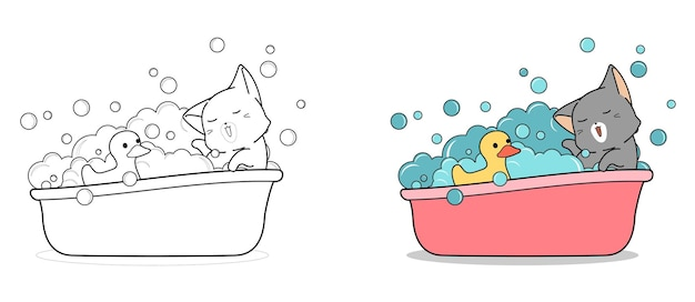 Adorable cat is bathing with ducky cartoon coloring page for kids