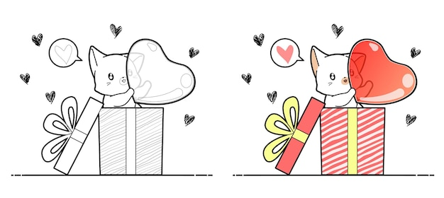 Adorable cat is holding heart in the box cartoon coloring page for kids