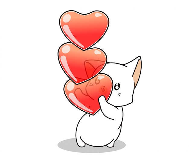 Adorable cat is holding hearts on white