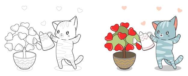 Adorable cat is planting tree of love cartoon coloring page for kids