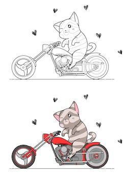 Adorable cat is riding motorcycle cartoon coloring page for kids