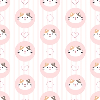 Adorable cat seamless pattern background