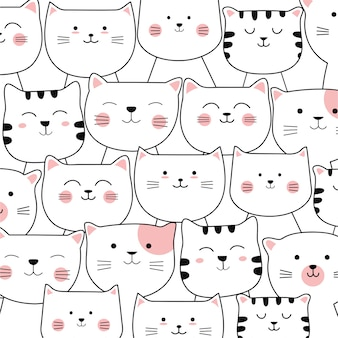 Adorable cat seamless pattern