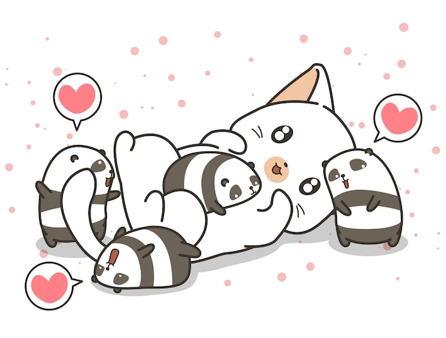Adorable cat and small panda characters