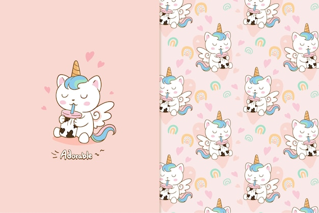Adorable cat unicorn  pattern