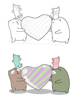 子供のための大きなハート型のキャンディー漫画の着色ページを持つ愛らしい猫とクマ