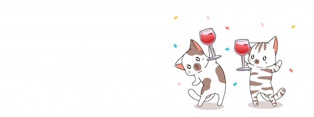 Adorable cats are holding cup of wine for celebration