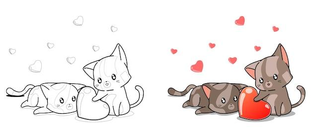 사랑스러운 고양이는 아이들을위한 심장 만화 색칠 공부 페이지를 찾고 있습니다