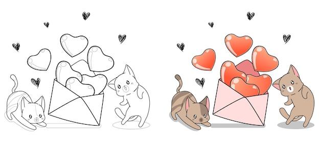 사랑스러운 고양이는 아이들을위한 연애 편지 만화 색칠 공부 페이지를 열고 있습니다