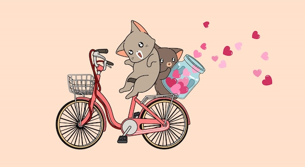 Adorable cats are riding bicycle and spreading heart