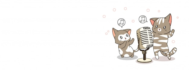 Adorable cats are singing