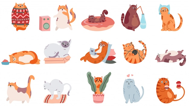 愛らしい猫。かわいい踊る猫、面白い怒っているキティと愛猫イラストセット。家畜がコーヒーを飲んで寝ています。セーターを着た漫画の太ったペット、ヨガをしてステッカーを食べる