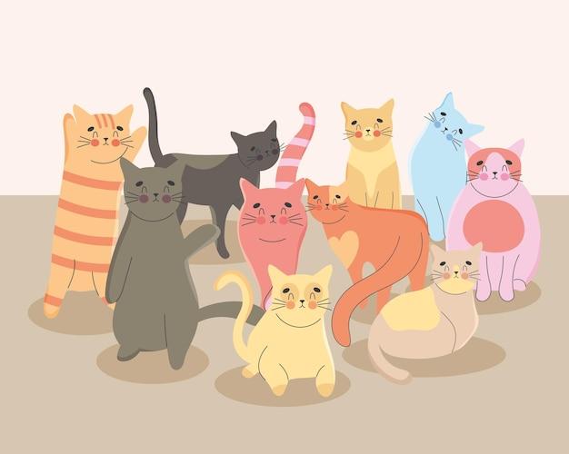 Очаровательные кошки иллюстрации