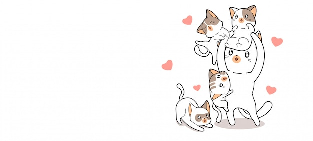 Adorable cats illustration