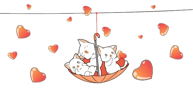 Adorable cats inside red umbrella with hearts