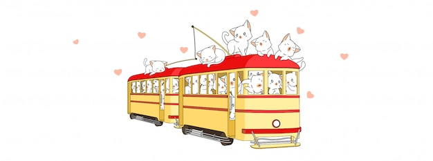 Adorable cats inside tram in summer holiday