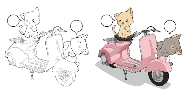 Adorable cats and motorcycle cartoon coloring page for kids