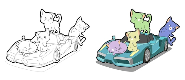 Adorable cats with super car cartoon coloring page for kids