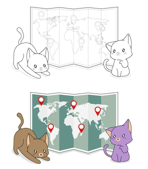Adorable cats with a world map cartoon coloring page for kids