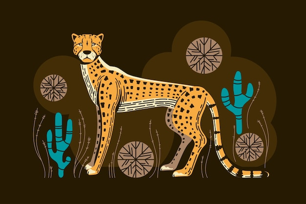 Adorable cheetah hunt with spinifex grass and cactus   illustration