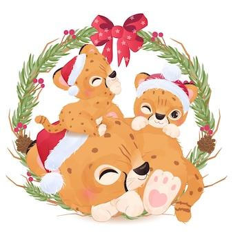 Adorable cheetah mom and babies for christmas illustration