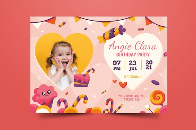 Modello di biglietto d'auguri per bambini adorabili