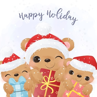 Adorable christmas greeting card with cute bear illustrations.