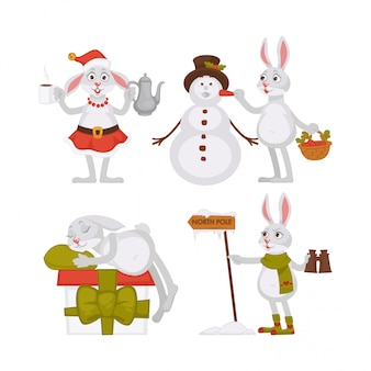 Adorable christmas rabbits and funny snowman in tall hat