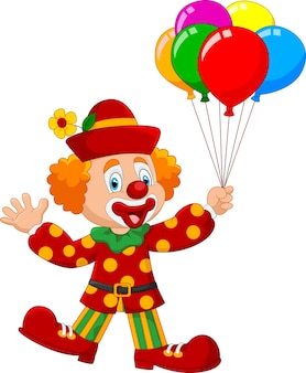 Adorable clown holding colorful balloo