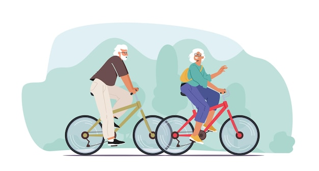 Adorable couple of cheerful seniors riding bicycles