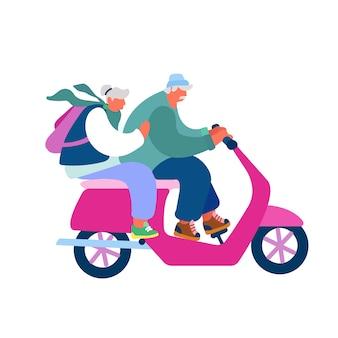 Adorable couple of cheerful seniors riding motorbike