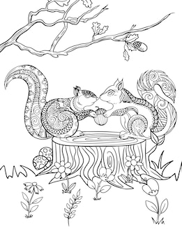 Adorable couple squirrel line drawing sharing piece of nut on top of big cutted wood in the forest. squirrel partenrs splitting thier food under a tree.