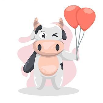 Adorable cow with balloon cartoon