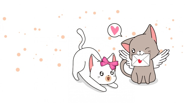 Adorable cupid cat with love letter and girlfriend