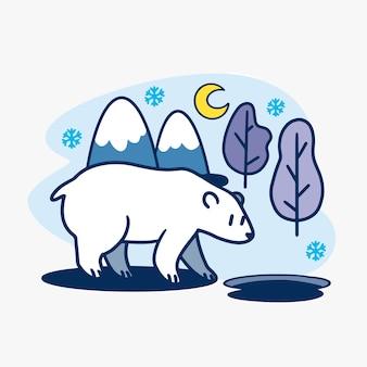 冬の夜のイラストで愛らしい好奇心が強いホッキョクグマ