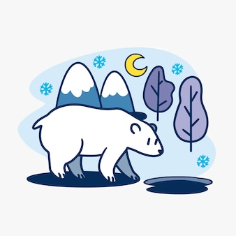 Adorable curious polar bear at winter night illustration