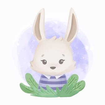 사랑스러운 귀여운 동물 토끼 수채화