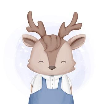 Очаровательный милый животное олень мальчик акварель