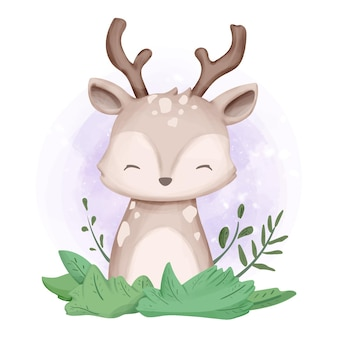 사랑스러운 귀여운 동물 사슴 수채화
