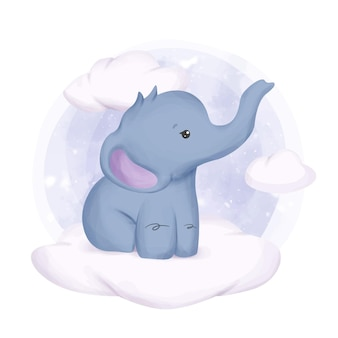 사랑스러운 귀여운 동물 코끼리 수채화