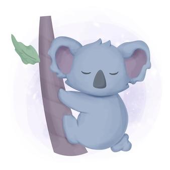 愛らしいかわいい動物コアラ睡眠水彩