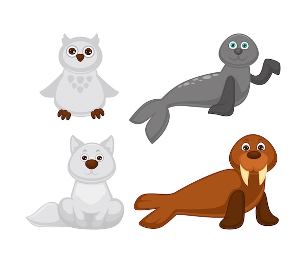 Adorable cute animals set