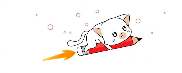 Adorable cute cat is riding pencil rocket illustration